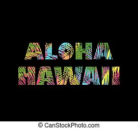 T-shirt print on black background with colorful palm leaves...