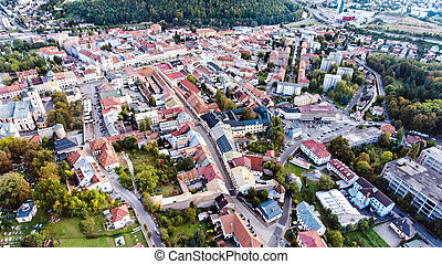 Aerial view of slovak town Banska Bystrica surrounded -...