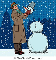 Retro man and snowman, pop art retro vector illustration....