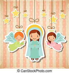 merry christmas design - cartoon cute angels and virgin mary...