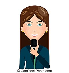 reporter live news isolated icon vector illustration design