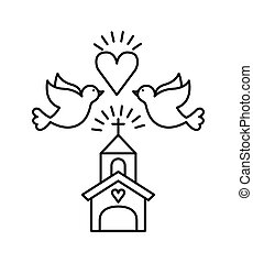 save the date design - church with doves and heart icons...