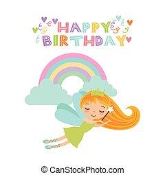 fairy birthday card - happy birthday card with cute fairy...