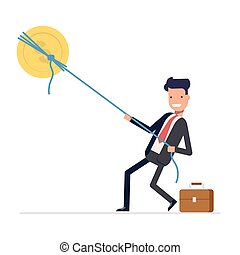Businessman or manager pulling rope tied to a coin. Money from the sky. Successful people in business suit. Vector, illustration EPS10