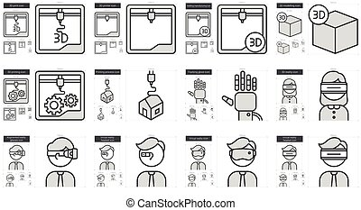 Virtual reality and 3D technology line icon set. - Virtual...
