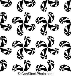 Curls of geometric shapes on a white background.