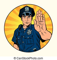 Retro police officer stop gesture, pop art retro vector...