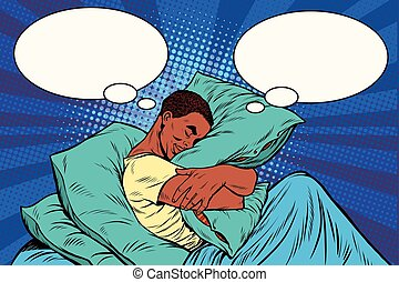 Dreamer man in bed hugging a pillow, pop art retro vector...
