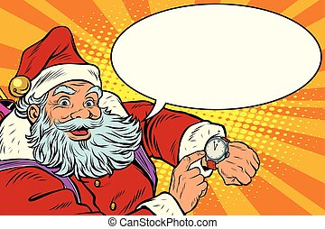 Santa Claus shows on the clock, New year and Christmas