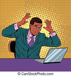 Businessman in panic, reading notebook, pop art retro vector...