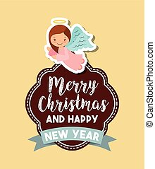 merry christmas design - cartoon cute angels. card of merry...