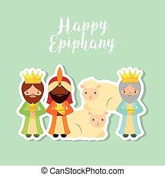 three wise men design - cartoon three wise men. happy...