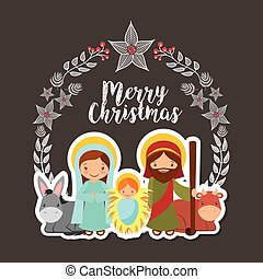 Holy family design - card of holy family manger scene. merry...