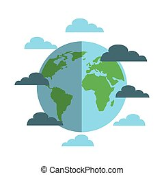 earth planet icon - earth planet sphere and blue clouds over...