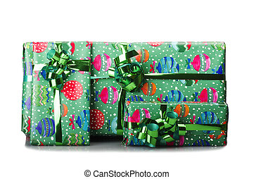 Big giftbox bounded with green ribbon on white