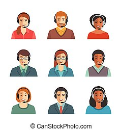 Call center agents flat avatars. Live chat operators, guys...
