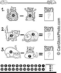 subtraction game coloring book - Black and White Cartoon...