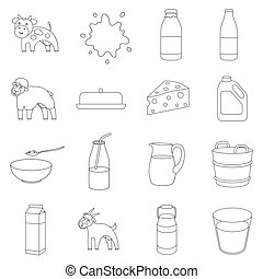 Milk set icons in outline style. Big collection of milk...