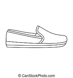 Moccasin icon in outline style isolated on white background....