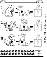subtraction game coloring page - Black and White Cartoon...