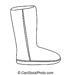 Ugg boots icon in outline style isolated on white...