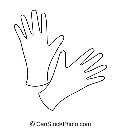 Black protective rubber gloves icon in outline style...