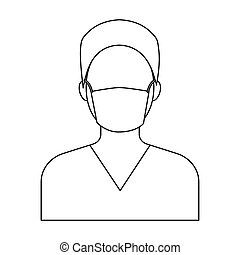 Nurse icon in outline style isolated on white background....