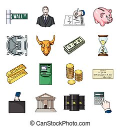 Money and finance set icons in cartoon style. Big collection of money and finance vector symbol stock illustration