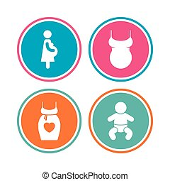 Maternity icons. Baby infant, pregnancy, dress.