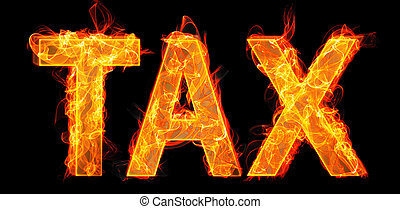 Burning tax letters in business concept