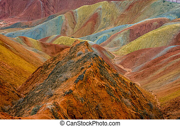 Rainbow mountains, Zhangye Danxia geopark, China - Colorful...