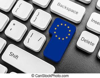 Enter key button with Flag of the European Union.
