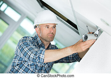 middle-age contractor working