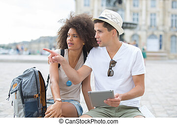 happy young couple enjoy travel at summer time