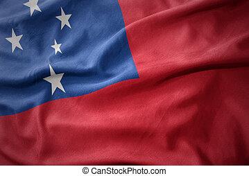 ondeggiare, bandiera,  Samoa, colorito