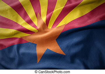 waving colorful flag of arizona state. - waving colorful...
