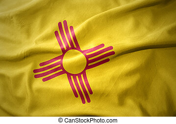 waving colorful flag of new mexico state. - waving colorful...