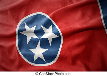 waving colorful flag of tennessee state. - waving colorful...