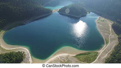 Aerial view of Black lake in Durmitor national park in...