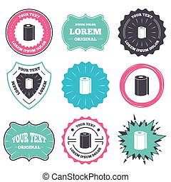 Paper towel sign icon. Kitchen roll symbol. - Label and...