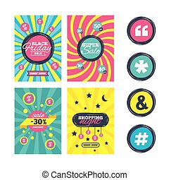 Quote, asterisk footnote icons. Hashtag symbol. - Sale...