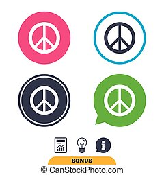Peace sign icon. Hope symbol. Antiwar sign. Report document,...