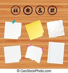 Quote, asterisk footnote icons. Hashtag symbol. - Business...