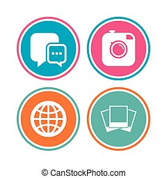 Social media icons. Chat speech bubble and Globe.