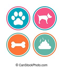 Pets icons. Dog paw and feces signs. Clean up after pets....
