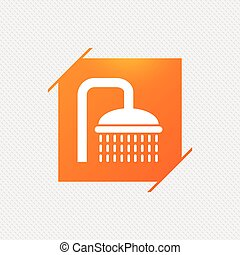 Shower sign icon. Douche with water drops symbol. Orange...