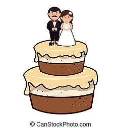 cake with couple just married character