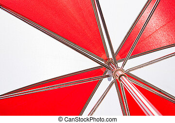 Canada day umbrella - the red and white panels inside of a...
