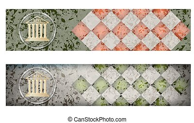 Set of two banners with marble pattern and bank icon