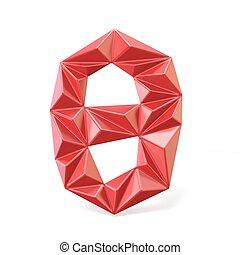 Red modern triangular font digit ZERO 0 3D render...
